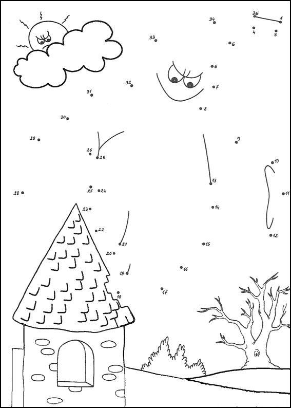 Printable sun and house dot to dot 1-15 number