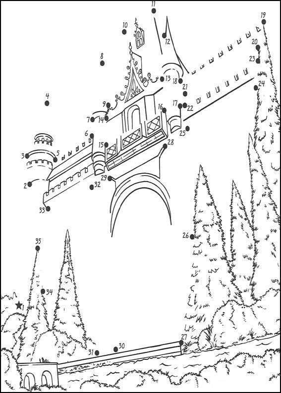 Castle Printable dot to dot 1-15 number