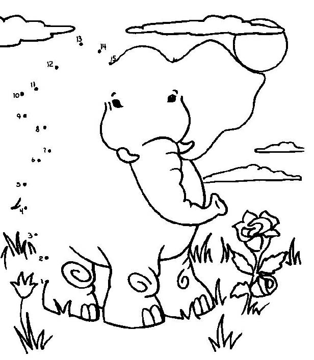 elephant printable dot to dot – connect the dots 1-15 numbers