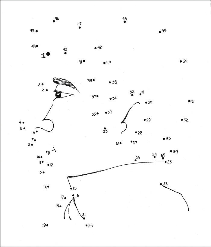 man printable dot to dot - connect the dots 1-50 numbers