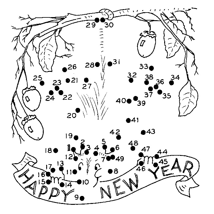 new year printable dot to dot - connect the dots 1-50 numbers