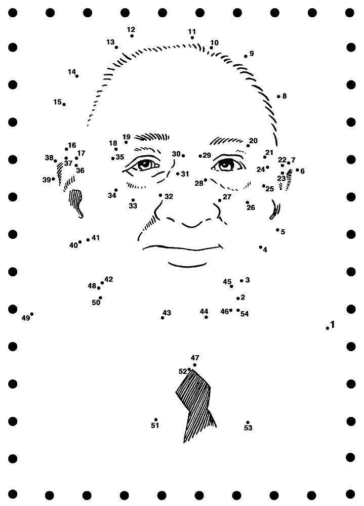 old man printable dot to dot - connect the dots 1-50 numbers