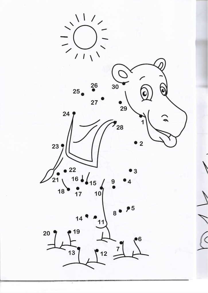 camel animal printable dot to dot – connect the dots numbers 1-30
