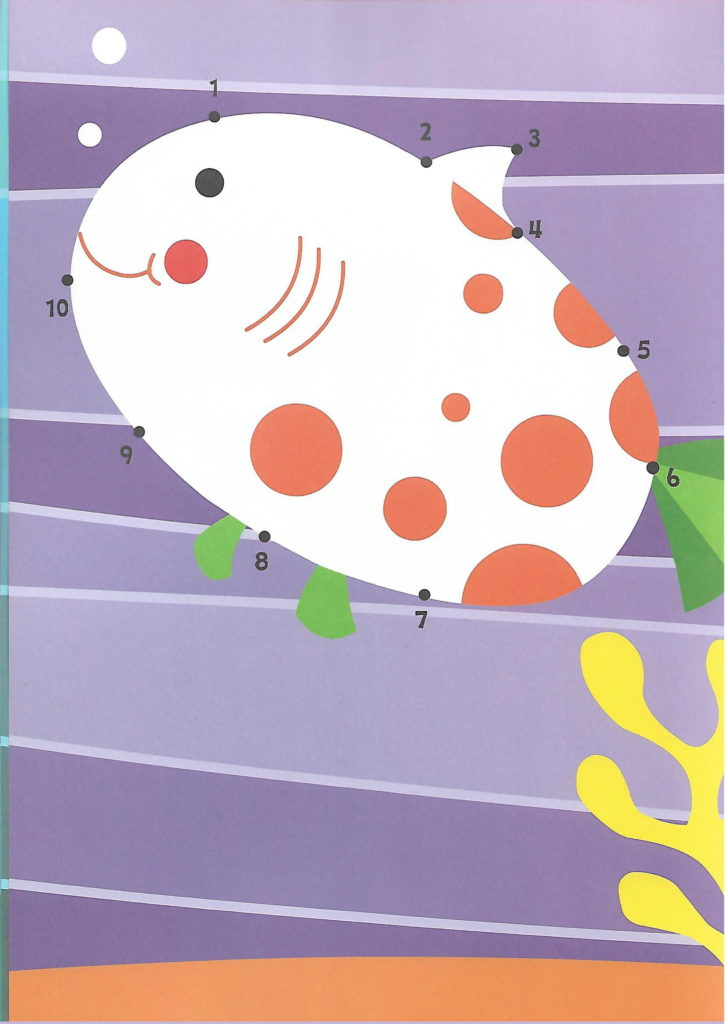 colorful fish sea animal printable dot to dot – connect the dots numbers 1- 10