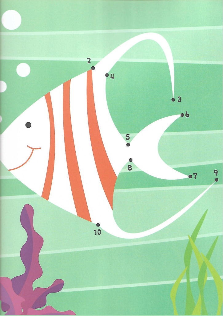 fish sea animal printable dot to dot – connect the dots numbers 1- 10