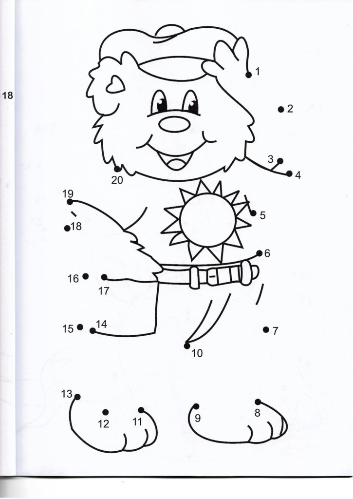 happy bear animal printable dot to dot – connect the dots numbers 1-20