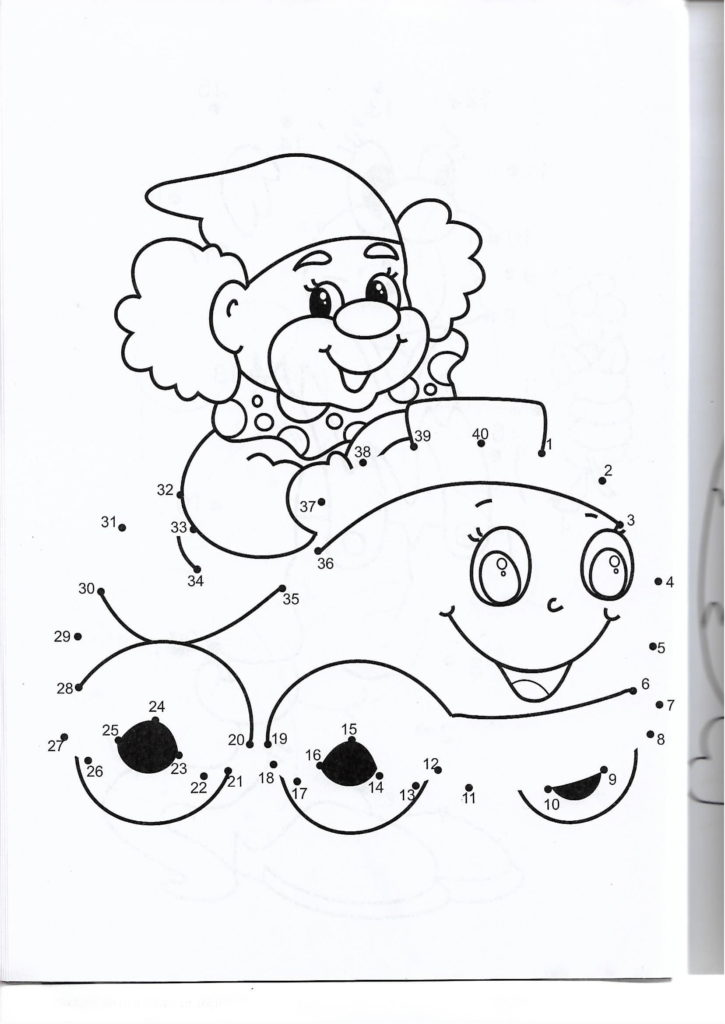 happy car printable dot to dot – connect the dots numbers 1-40