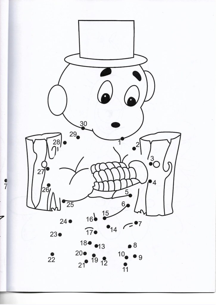 kid eating corn printable dot to dot – connect the dots numbers 1-30