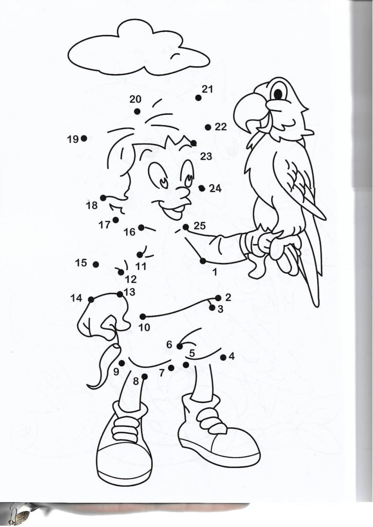 kid holding a parrot animal printable dot to dot – connect the dots numbers 1-25