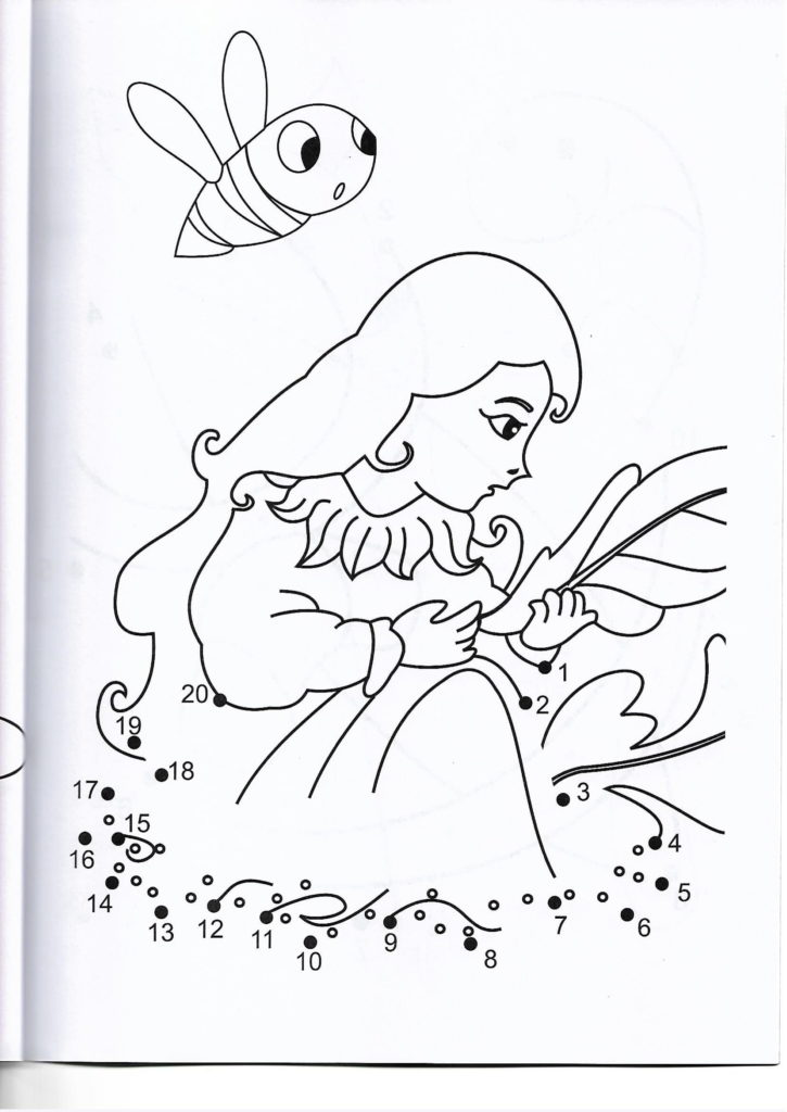 little princess printable dot to dot – connect the dots numbers 1-20