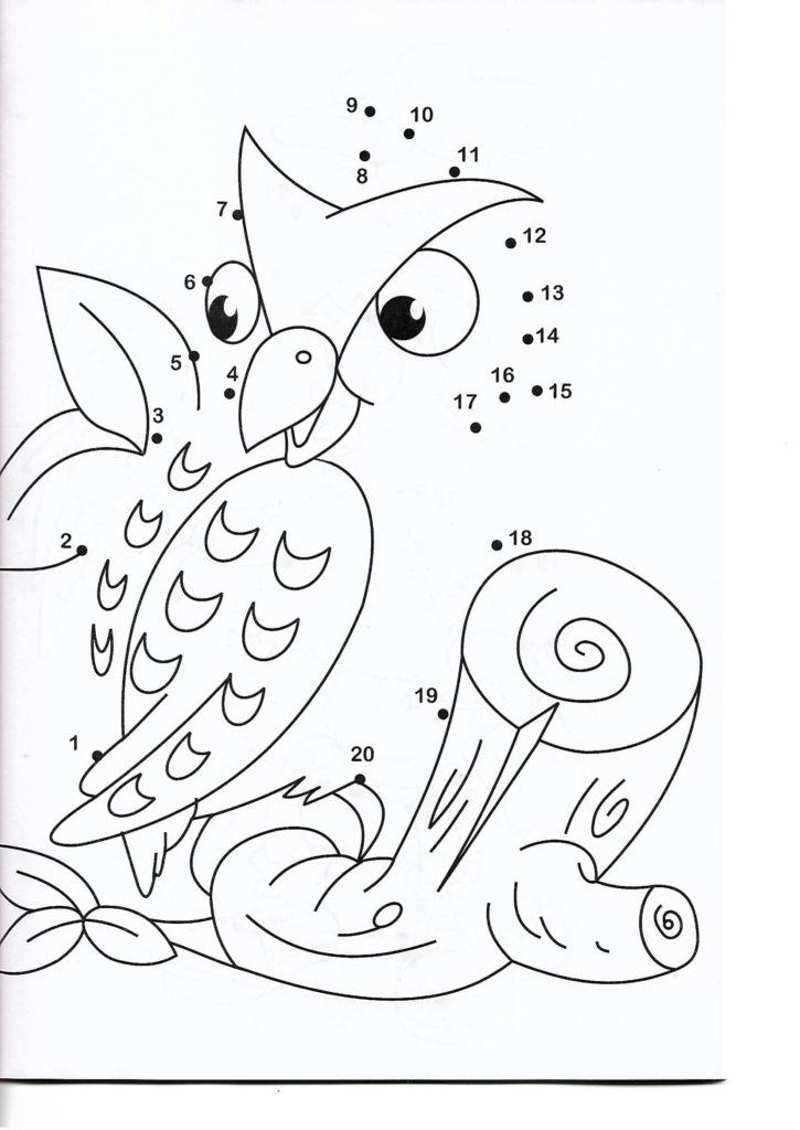 owl animal printable dot to dot – connect the dots numbers 1-20