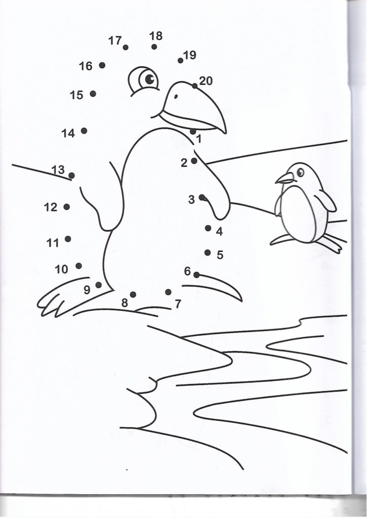 penguin animal printable dot to dot – connect the dots numbers-1-20