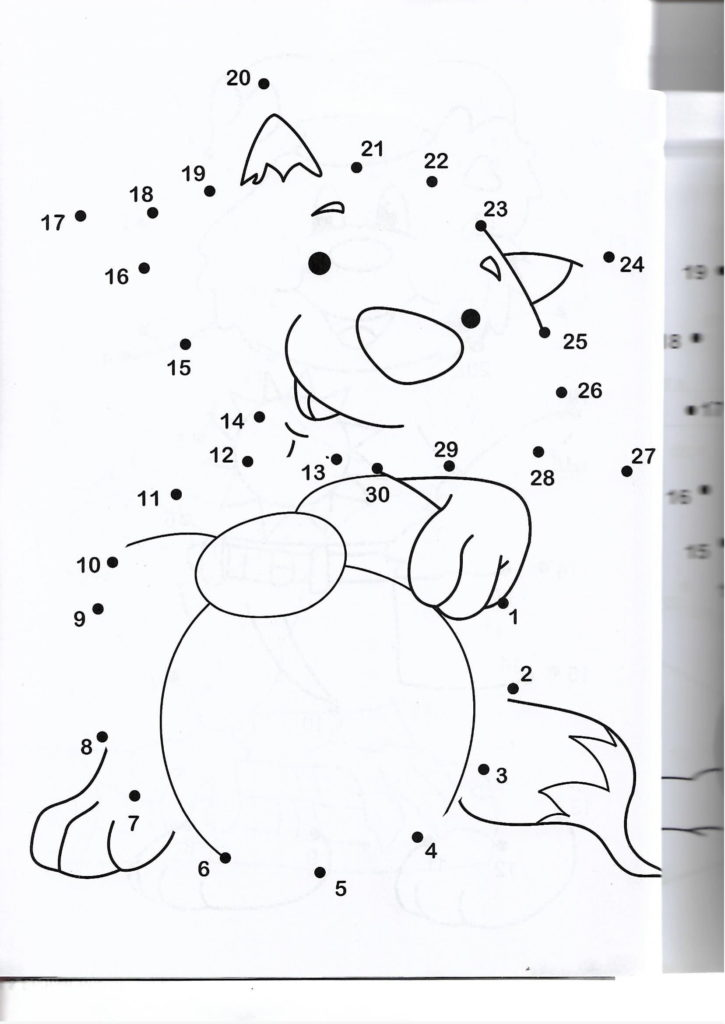 racoon animal printable dot to dot – connect the dots numbers 1-30