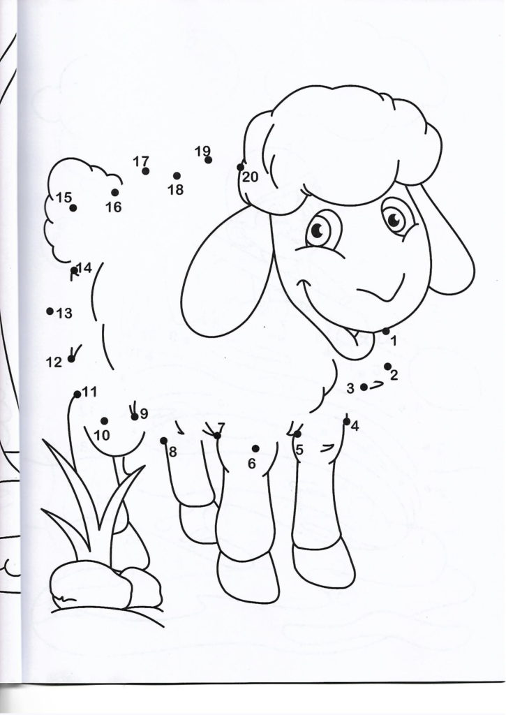 sheep animal printable dot to dot – connect the dots numbers 1-20