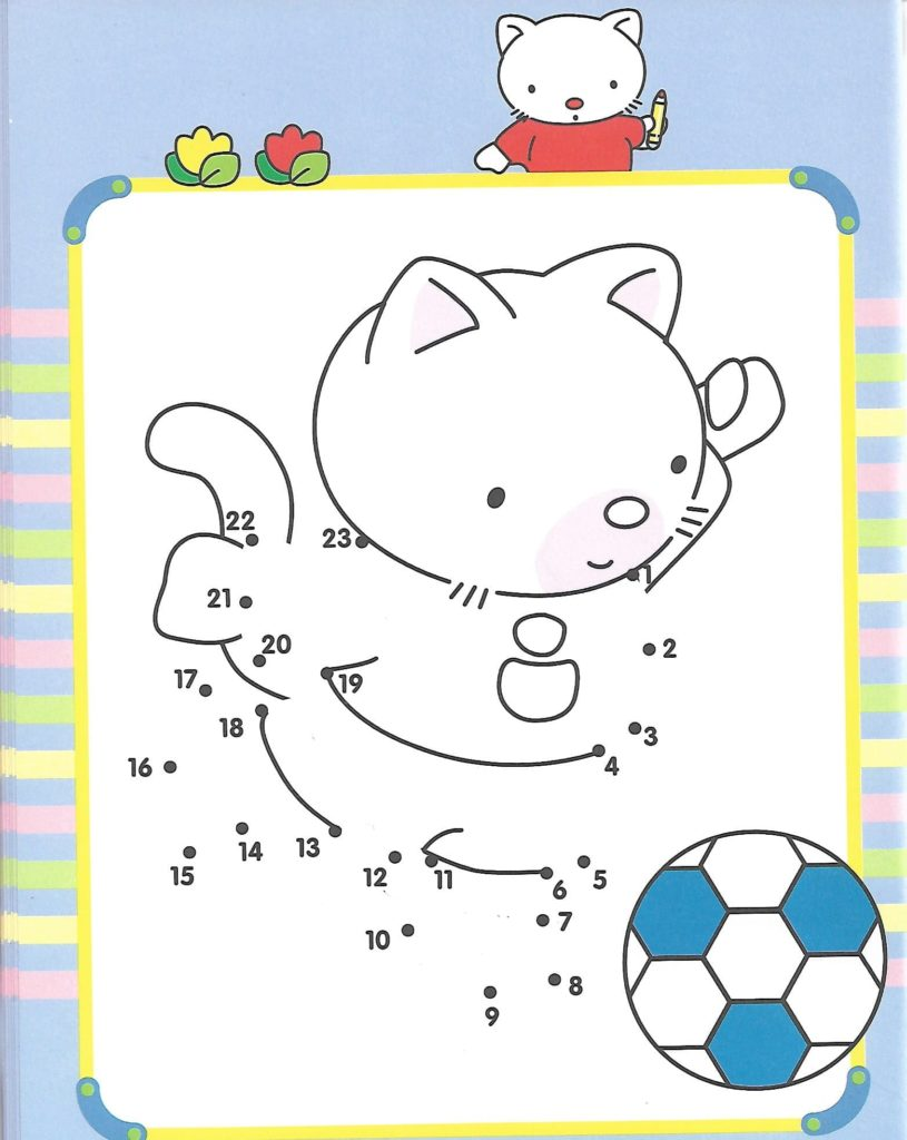 cat animal playing football printable dot to dot – connect the dots numbers 1-30
