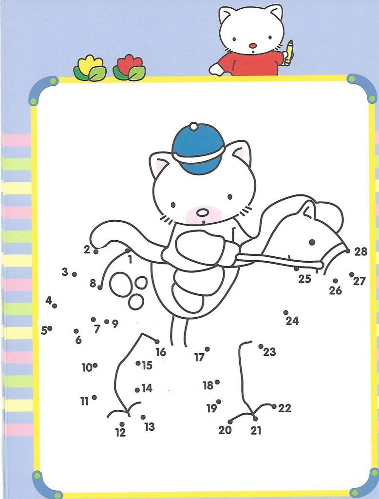 cat riding a horse animal printable dot to dot – connect the dots numbers 1-30