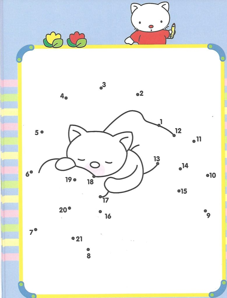 cat sleeping in bed animal printable dot to dot – connect the dots numbers 1- 20