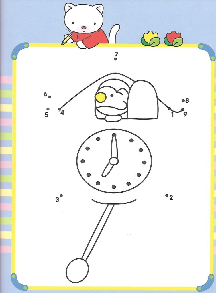 clock with bird animal printable dot to dot – connect the dots numbers 1-10