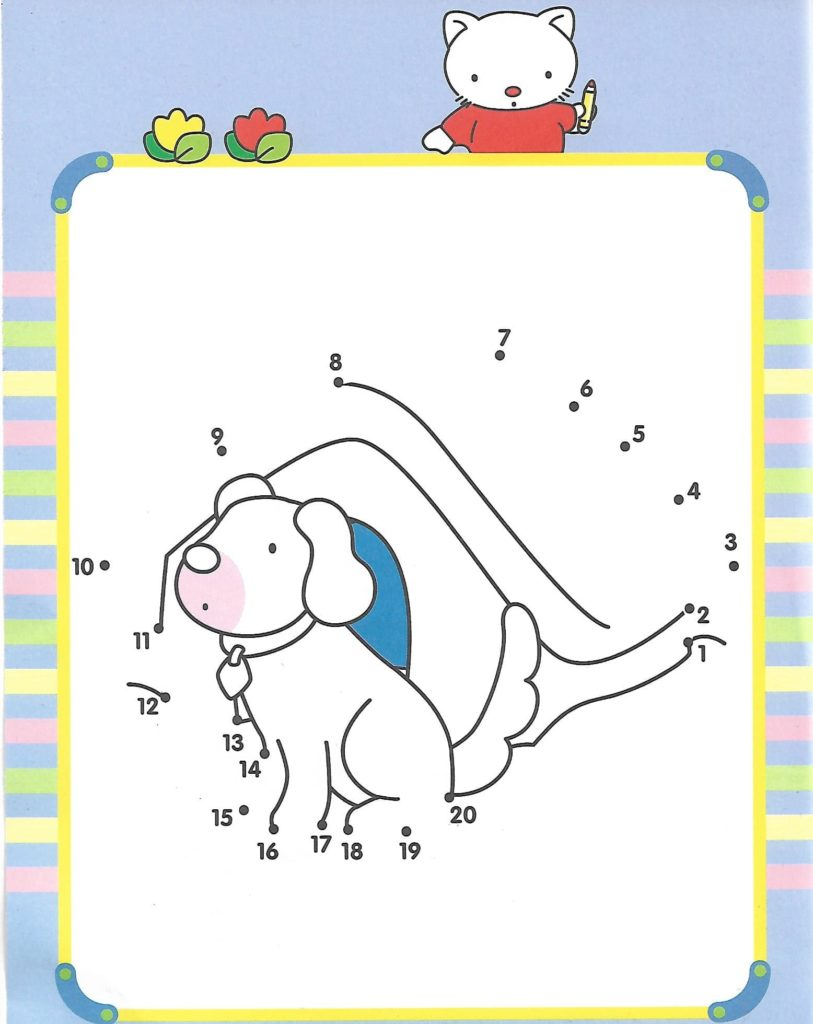 dog in dog house animal printable dot to dot – connect the dots numbers 1-20