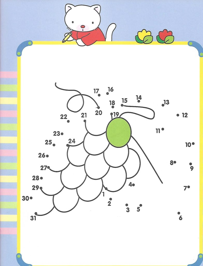 grapes printable dot to dot – connect the dots numbers 1- 30