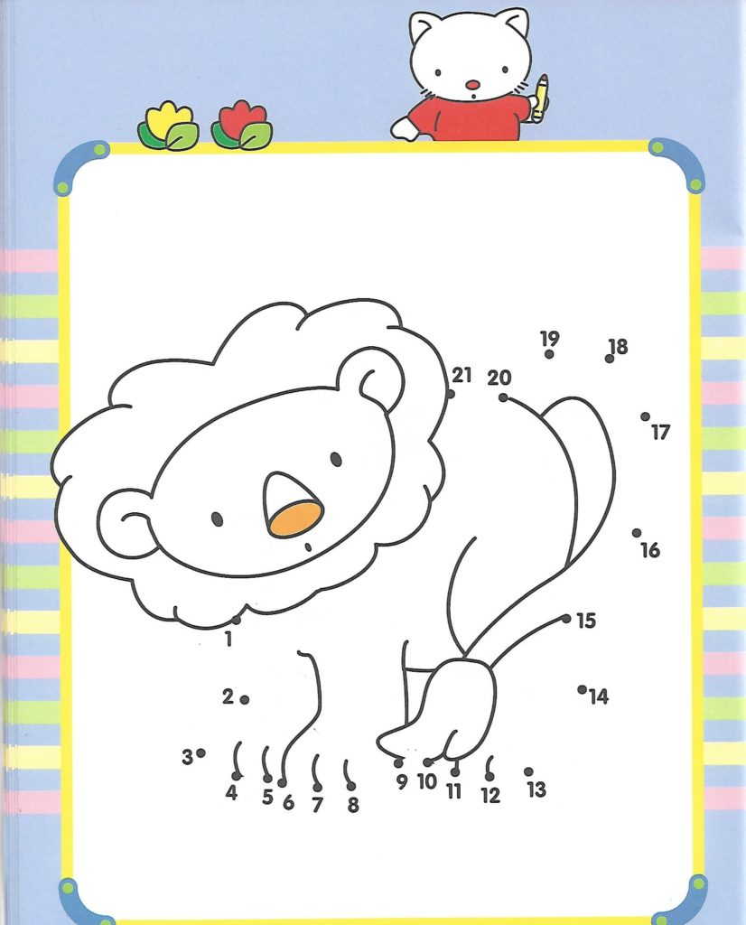 lion animal printable dot to dot – connect the dots numbers 1-21